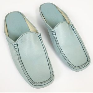 Tod's Leather Pale Blue Pellame Slip On Mules